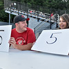 "(Brad Davis/The Register-Herald) Beckley resident Preston Kendrick reacts as his wife Savannah holds up a matching ""5"" to score a correct answer as the couple plays the newlyweds game between innings of the Miners' game against the Chillicothe Paints Wednesday evening at Linda K. Epling Stadium. The question this round was to rate how good from 1 to 10 the first meal one cooked for the other."