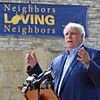 (Brad Davis/The Register-Herald) Governor Jim Justice speaks during the dedication ceremony for the Old Mill Park Flood Memorial Friday afternoon in White Sulphur Springs.