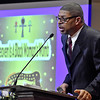 (Brad Davis/The Register-Herald) Keynote speaker Dr. Geoffrey Cousins, a West Virginia-based heart surgeon and a national pioneer of robotic-assisted heart surgery, gives an in-depth lesson on lesser-known facts of African American history during Heart of God Ministries' Black History Month celebration Sunday evening.