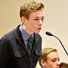 """(Brad Davis/The Register-Herald) """"Defendant"""" Andrew Madison, accused of assaulting an officer and resisting arrest, enters a """"not guilty"""" plea during a mock trial with middle and high school-aged homeschoolers from the Appalachian Christian Academy in Raleigh County Ciruit Court Monday afternoon."""