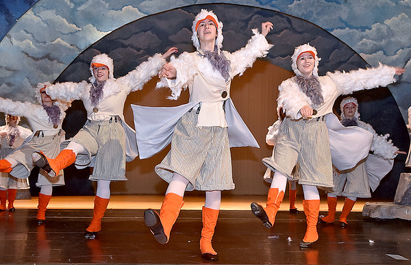 (Brad Davis/The Register-Herald) Tap dancing seagulls perform a scene from Woodrow Wilson High School's rendition of Disney's The Little Mermaid during a rehearsal and photo shoot Friday afternoon inside the school's auditorium.