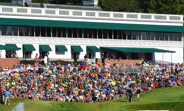 Large crowd on the 18th hole during the final round of The Greenbrier Classic.<br /> (Rick Barbero/The Register-Herald)