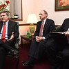 WV secretary of state Mac Warner, left,  John Hoover, special assistant and Jason Crowder, field service representative, spoke with Cecilia Chapman, chief deputy clerk and Raleigh County clerk Danny Moore spoke Monday afternoon at the old Raleigh Cunty Courthouse. Warner traveling to Summers and Raleigh counties to meet with county clerks and other county and city officials on Monday to discuss issues they are facing and offered up some help.<br /> (Rick Barbero/The Register-Herald)