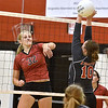 (Brad Davis/The Register-Herald) Liberty's Erin Stone, right, blocks a spike from PikeView's Laken McKinney during a volleyball match at Liberty High School October 11.