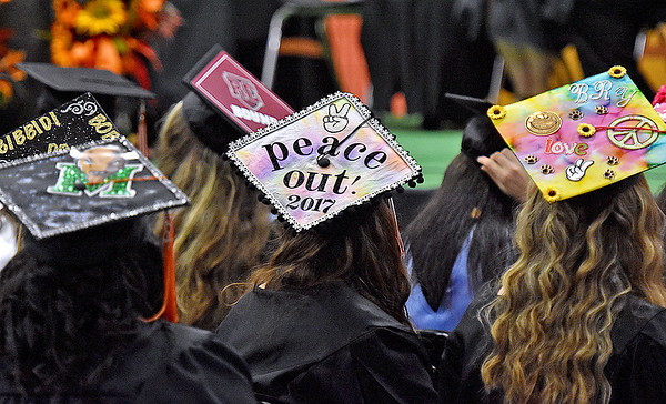 (Brad Davis/The Register-Herald) Summers County High School graduates look on during the school's commencement ceremony Friday evening in Hinton.