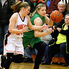 (Brad Davis/The Register-Herald) Fayetteville's Kendall Malay hustles up court as Summers County's Tiffani Cline defends Thursday night in Hinton.