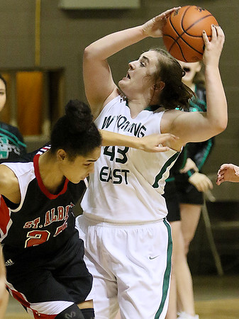 (Brad Davis/The Register-Herald) Wyoming East's Allie Lusk against St. Albans in the Big Atlantic Classic at the Beckley-Raleigh County Convention Center February 4.