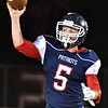 (Brad Davis/The Register-Herald) Independence QB Haegan Harvey throws during the Patriots' game against Clay County Friday night in Coal City.