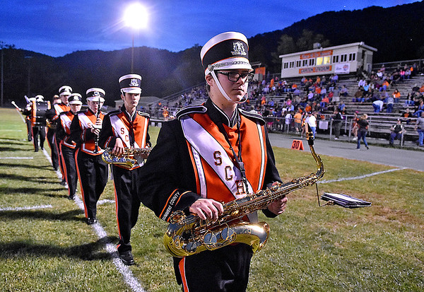 (Brad Davis/The Register-Herald) The Summers County marching band gets into position for the football team to take the field following a pre-game performance Friday night in Hinton.