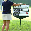Connie Peters, of Fincastle, Va, wtaches play with her sign on the 16th hole during the second round of The Greenbrier Classic<br /> (Rick Barbero/The Register-Herald)