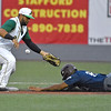 (Brad Davis/The Register-Herald) The throw from Miners catcher Matt DiLeo gets past 2nd baseman Ivan Acuna, allowing Butler baserunner Calvin Scott to steal the base before eventually scoring the game winning run during the Miners' game one division series loss to the Blue Sox Sunday night at Linda K. Epling Stadium.