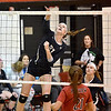 (Brad Davis/The Register-Herald) Nicholas County's Anna Hamilton during a volleyball match against PikeView at Liberty High School October 11.