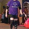 (Brad Davis/The Register-Herald) Eventual overall winner Brandon Thompson during individual introductions at the annual Hunks in Heels fundraising event for the Women's Resource Center Friday night at the Beckley Moose Lodge.