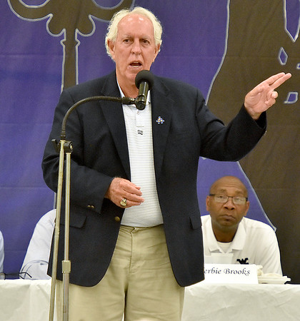 (Brad Davis/The Register-Herald) Beckley's Dave Barksdale speaks as one of eight honorees during the Jack Lilly West Virginia Sports Legends Dinner Saturday night at the Beckley Moose Lodge. Mullens' Gene Miller and Herbie Brooks, Mt. Hope's Ted Spadaro, sportscaster and writer Frank Giardina, Beckley's Frank Rodriguez, Huntington East's Johnny Frye and Meadow Bridge's Jim Hamrick were the other seven honored.