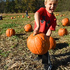 Kamden Legg, student in Mary Beth Garcia's Pre-K class, carries away his pumpkin he picked out at the Okes Family Farm in Cool Ridge. Crescent Elementary Pre-K spent the day on a field trip to the the farm participating in the hay tunnels, corn maze, corn box, tractor ride to pumkin patch and the jump house. Oke's Family Farm is open during the week for school field trips and open to the public, Saturday 10 am to 5:30 p.m. and Sunday noon to 5:30 p.m.<br /> (Rick Barbero/Rick Barbero/The Register-Herald)