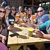 (Brad Davis/The Register-Herald) A merry group of patrons offer cheers, among them engaged couple Sara Frost (3rd from right) and Curtis Roberts (2nd from right), during the grand opening celebration for the Weathered Ground Brewery Saturday afternoon in Cool Ridge. The soon-to-be Roberts' are having their wedding at Weathered Ground next June and were on hand to scout out which brews they want to have available during the festivities.