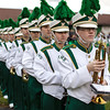 Jordan Scarborough leads the Fayetteville High School band on to the field. Chad Foreman for the Register-Herald.