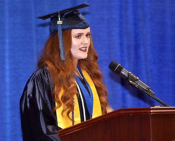 (Brad Davis/The Register-Herald) Nicholas County Summa Cum Laude speaker Rachel Dorsey during the school's 103rd Commencement Ceremony Sunday afternoon at the Summersville Arena