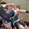 (Brad Davis/The Register-Herald) Park's Jackson Evans, right, lifts Western Greenbrier's Jayden Robinson as the two battle in a 171-pound weight class matchup during the Wayne Bennett Duals Saturday morning at Park Middle School. Park's Evans would win the match.