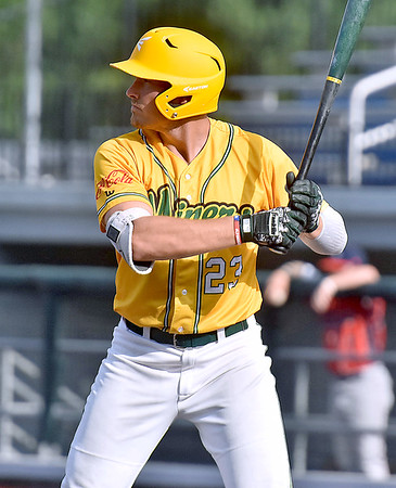 (Brad Davis/The Register-Herald) Miners 1st baseman Justin Mitchell stands in for an at-bat during a game against Chillicothe July 23 at Linda K. Epling Stadium.