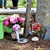 "(Brad Davis/The Register-Herald) Decorations under a special tree decorated in memory of the late Belinda Scott, part of what will now be known as ""Belinda's Honeybee Garden"" inside the new Brad Paisley Park Friday afternoon in White Sulphur Springs."