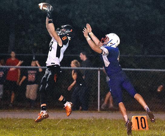 (Brad Davis/The Register-Herald) Richwood's Michael McGee leaps to intercept a pass Friday night in Hico.