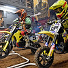 (Brad Davis/The Register-Herald) Young racers take off as the gate drops on a 50cc junior race during the weekend's Tristate MX dirt bike racing event Saturday night at the Beckley-Raleigh County Convention Center.