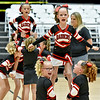 (Brad Davis/The Register-Herald) The Raleigh West Raiders B-team takes their turn to perform for the judges during a Youth Cheerleading Competition Sunday afternoon at the Beckley-Raleigh County Convention Center.