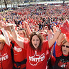 Teachers, school personnel and supporters from all 55 counties joined togther in unity at the State Capitol in Charleston Monday for a rally during day three of the statewide walkout.<br /> (Rick Barbero/The Register-Herald)