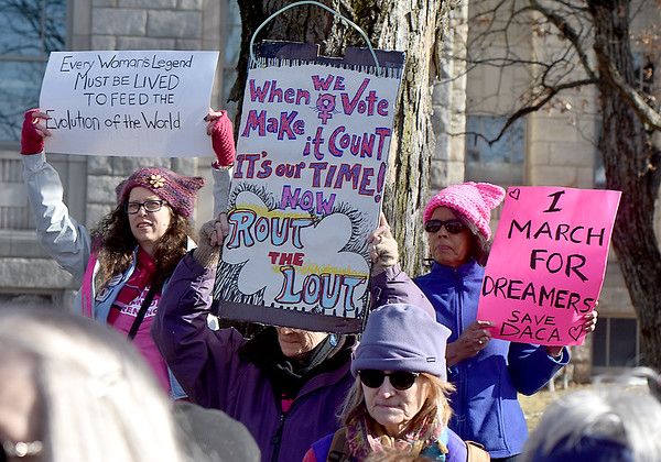 "(Brad Davis/The Register-Herald) Scenes from the ""It's Our Time"" rally marking the one-year anniversary of the Women's March Saturday morning in Beckley's Showmaker Square."