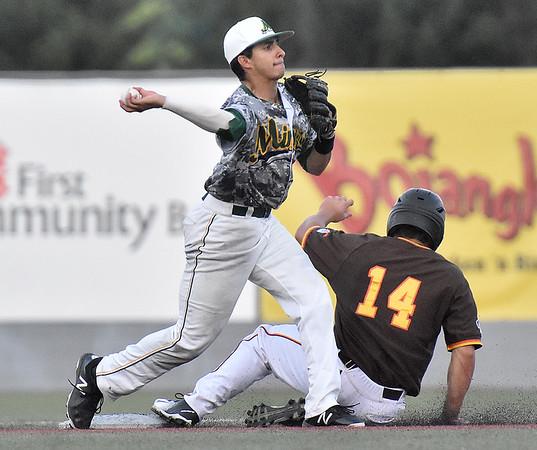 (Brad Davis/The Register-Herald) Miners 2nd baseman Fernando Ortiz forces out Kokomo baserunner John Sechen Saturday night at Linda K. Epling Stadium.