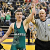 (Brad Davis/The Register-Herald) Fayetteville's Trent Pullens has his armed raised as the winner over Moorefield's Isaac Van Meter in a 160-pound weight class matchup Friday night at the Big Sandy Arena.
