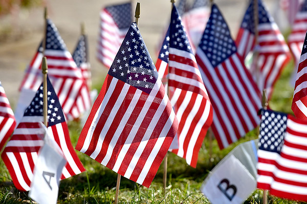 (Brad Davis/The Register-Herald) Rows of small American flags bearing the names of veterans past and present fill the front lawn during the 5th Annual Healing Fields Ceremony Sunday at the Raleigh County Veterans Museum.