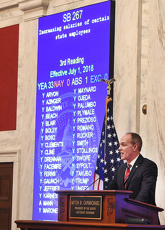 Senate president Mitch Carmichael, reads off the votes placed for Senate Bill 267, increasing salaries of certain state employees. The Senate unanimously passed the bill that would increase teachers and certain state employees salaries by 1 percent.<br /> (Rick Barbero/The Register-Herald)