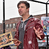 (Brad Davis/The Register-Herald) Local musician and activist Greg Lilly delivers a passionate speech through in incoming snow blast during Beckley's March For Our Lives rally Saturday afternoon at Shoemaker Square.