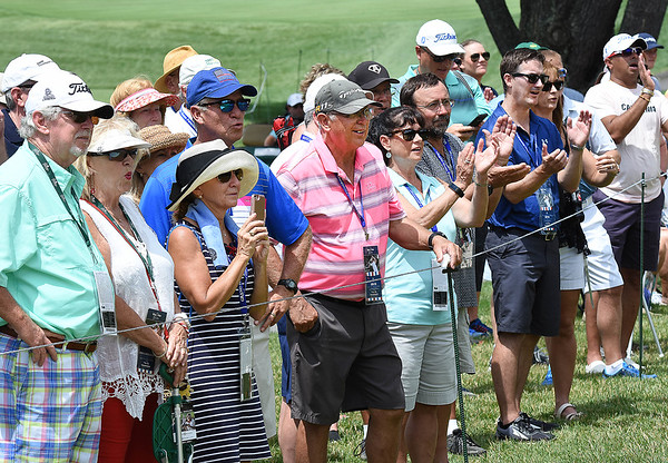 Spectators watching play along the 7th fairway during the first round of, A Military Tribute at The Greenbrier golf tournament.<br /> (Rick Barbero/The Register-Herald)