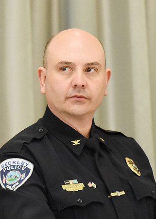 Lonnie Christian, Beckley Police Department Chief, during the Communicate: Hep C & HIV forum Tuesday in Beckley. (Chris Jackson/The Register-Herald)