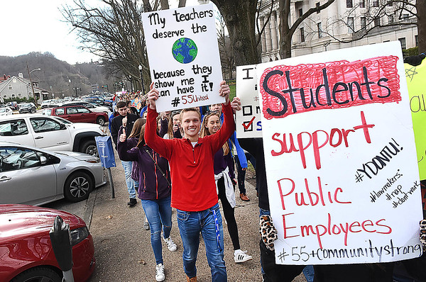 Students rallied at the State Capital in Charleston and marched around the Capitol building supporting teachers during Day 7 of their walkout.<br /> (Rick Barbero/The Register-Herald)