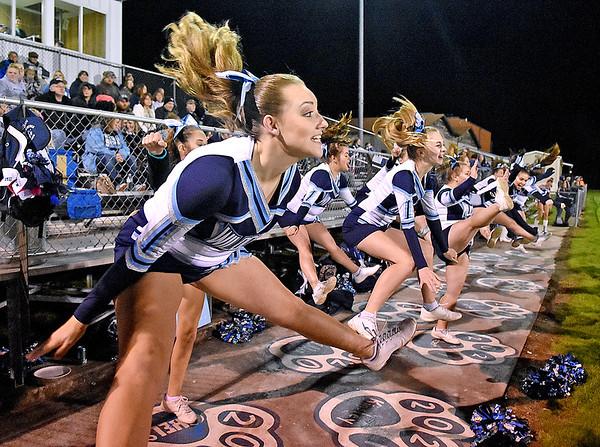 (Brad Davis/The Register-Herald) Meadow Bridge cheerleaders perform Friday night in Meadow Bridge.