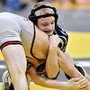 (Brad Davis/The Register-Herald) Shady Spring's Levi Price takes on Point Pleasant's George Smith in a 120-pound weight class matchup during state wrestling tournament action Thursday night at Huntington's Big Sandy Arena.