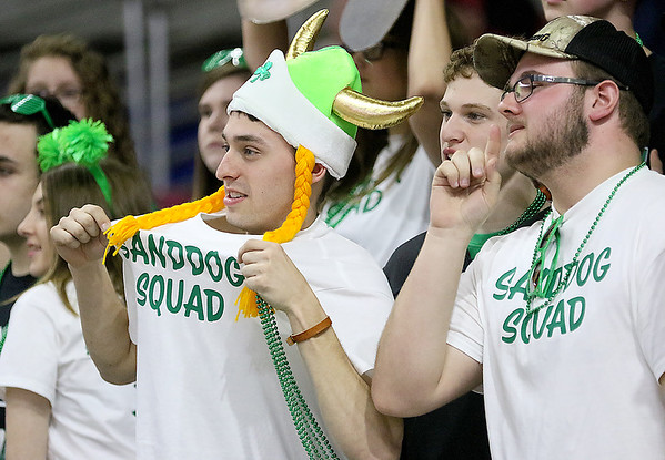 (Brad Davis/The Register-Herald) Wyoming East students, fans and family in the stands react to events on the court during the Lady Warriors' first round Class AA State Tournament game against Lincoln Wednesday afternoon at the Charleston Civic Center.