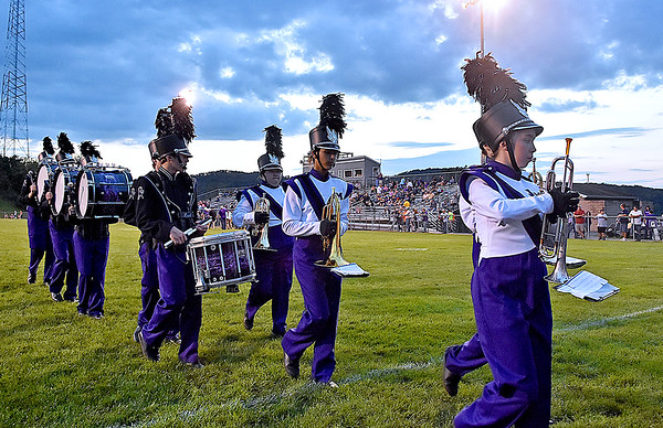 (Brad Davis/The Register-Herald) The James Monroe marching band performs prior to their game against Wyoming East Friday night in Lindside.