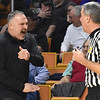 Greater Beckley Christian head coach Brian Helton, didn't like a call made by an official against Tug Valley during the quarter-final game of the Class A Boys State Basketball Tournament held at the Charleston Civic Center. Tug Valley won 83-52<br /> (Rick Barbero/The Register-Herald)