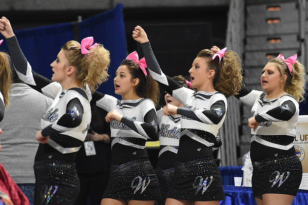 Westside cheerleaders in game against Winfield during the quarter-finals of the Class AA Boys State Basketball Tournament held at the Charleston Civic Center. Winfield won 68-65<br /> (Rick Barbero/The Register-Herald)