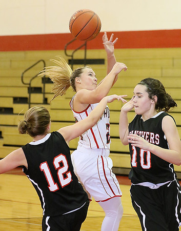 (Brad Davis/The Register-Herald) Independence's MaKenzie Holley loses her grip on the ball while trying to drive and score between PikeView defenders Hannah Perdue, left, and Hope Craft Thursday night in Coal City.