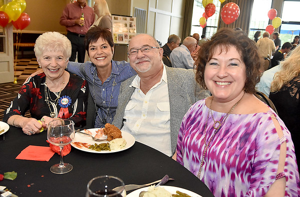 (Brad Davis/The Register-Herald) Longtime, retiring Plaza McDonald's employee Jessie Wolfe and children (from left) Barbara Sharer, Bill Florek and Kris Gerencir September 19 at Black Knight.