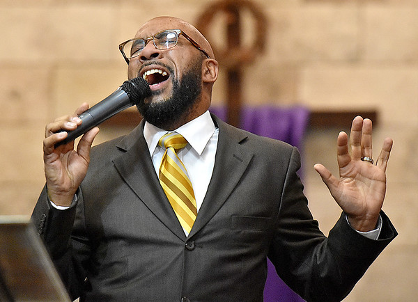 (Brad Davis/The Register-Herald) Antron Welch, one of the event's two emcees, takes his turn in delivering song during Heart of God Ministries' One Voice One Sound Celebration of Gospel Sunday evening at the Kanawha Street Church. The jam-packed musical event was put together by the church's Soul to Soul Ministry and featured a large gathering of singers, psalmists, poets and other gospel talents from around the state.