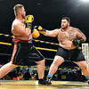 (Brad Davis/The Register-Herald) Chris Miles, right, takes on Jeremy McGraw during their heavyweight match in the Original Toughman Contest Friday night at the Beckley-Raleigh County Convention Center.