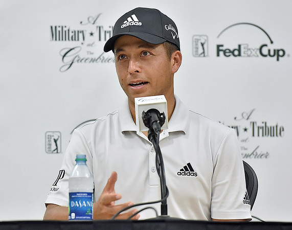 (Brad Davis/The Register-Herald) Defending Greenbrier Classic champ Xander Schauffele speaks to the media follwing his Pro-Am round Wednesday afternoon in White Sulphur Springs.