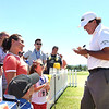 Phil Mickelson signs autographs after playing his final round in A Military Tribute at The Greenbrier golf tournament held at The Greenbrier Resort in White Sulphur Springs.<br /> (Rick Barbero/The Register-Herald)